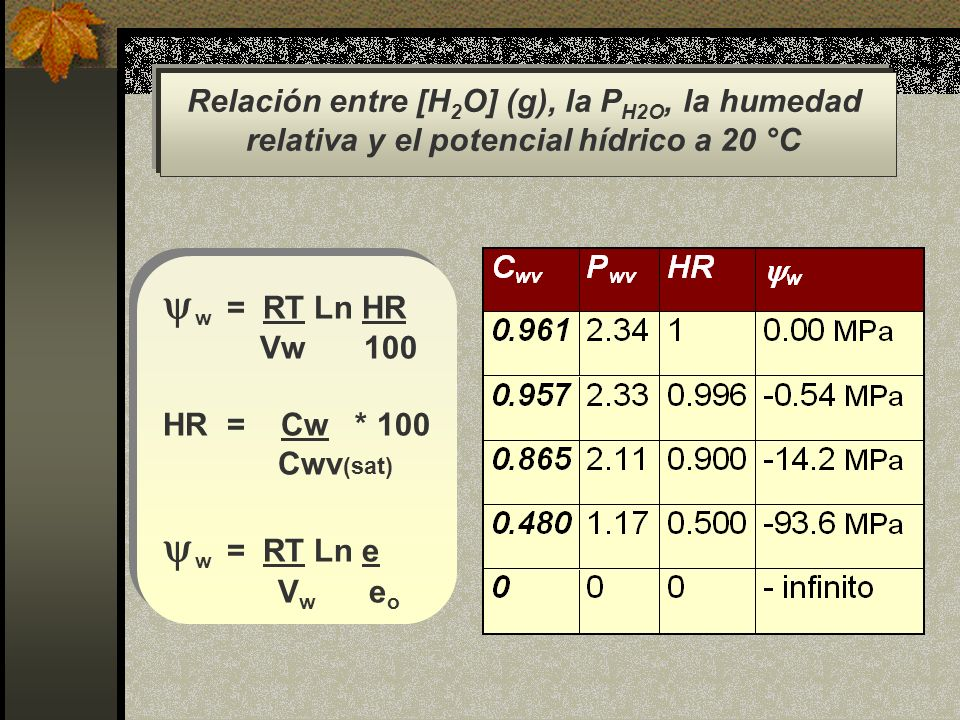 Relación entre [H2O] (g), la PH2O, la humedad
